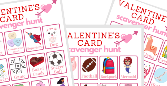 close up of Valentine's scavenger hunt printable game cards