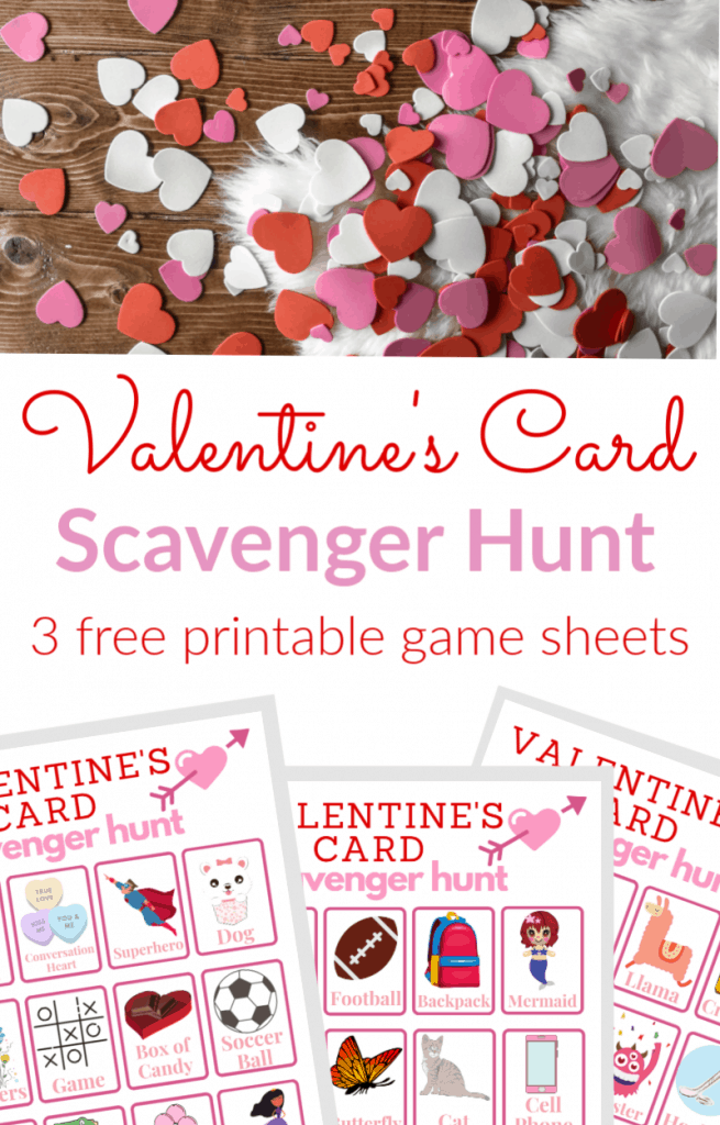 red, white and pink hearts scattered on wood floor, title, images of three Valentine's Scavenger Hunt game sheets
