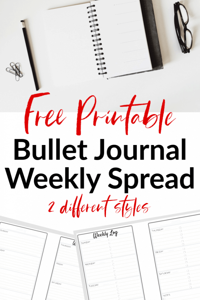 Top image open journal with black over, lower image  of 2 sheets of printable bullet journal weekly spreads with red text overlay reading Free Printable Bullet Journal Weekly Spread