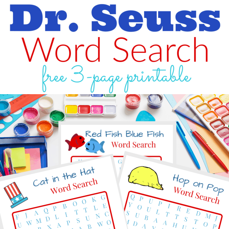 Dr Seuss word search printables on arts and crafts table
