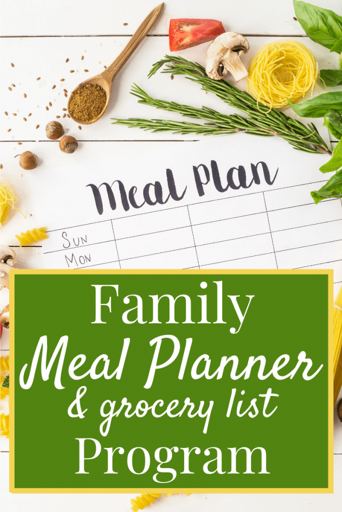 Printed Meal Plan form with ingredients scattered around and text title overlay reading Family Meal Planner & grocery list Program.