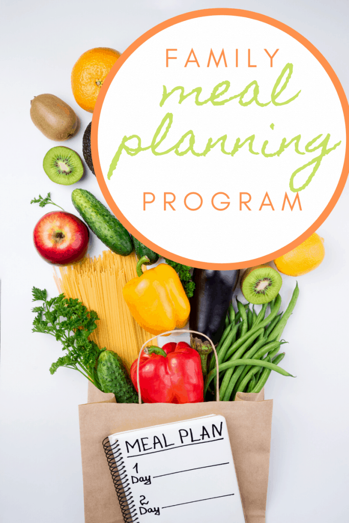 """Paper shopping bag with colorful produce spilling from the bag with a notebook with """"Meal Plan"""" written and title text overlay"""