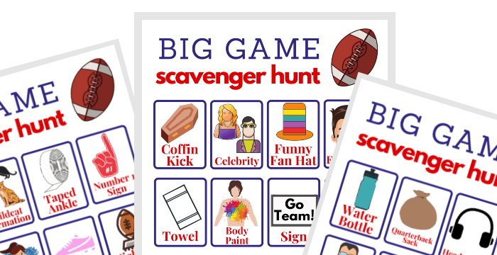 close up of 3 free football game boards for playing a scavenger hunt