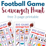 text title with images of 3 scavenger hunt printable game boards for football watching