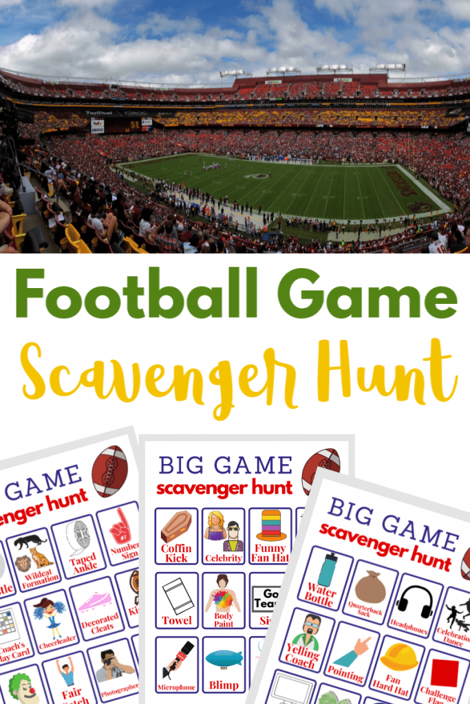 top image of football stadium, bottom image of 3 printable football scavenger hunt game boards, with text overlay
