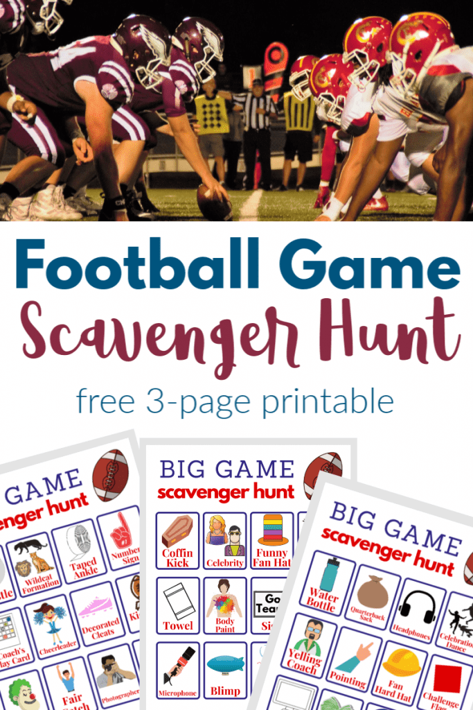 top image football players lined up on line of scrimmage, bottom image of 3 football game scavenger hunt game boards
