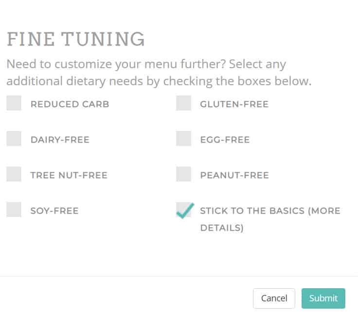 Screenshot of meal planner program  option to specify menu restrictions
