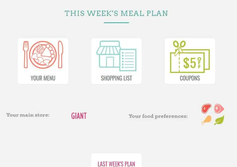 Screenshot of The Dinner Daily's weekly meal plan screen