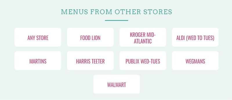Screenshot of grocery store list available