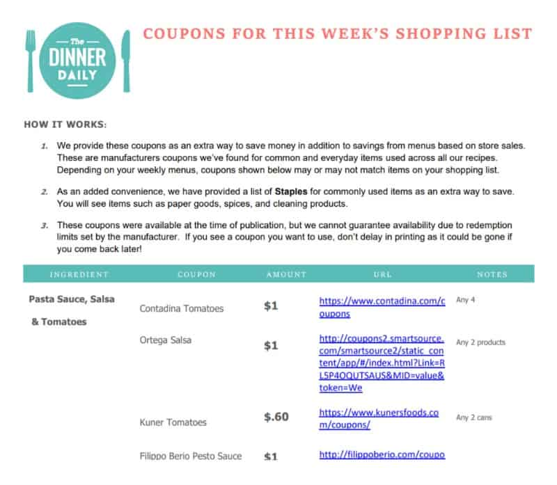 screenshot of meal planner program coupon list
