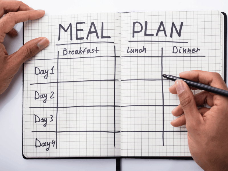 "Open bullet journal with title ""Meal Plan"" at top of pages and gird for meal planning"