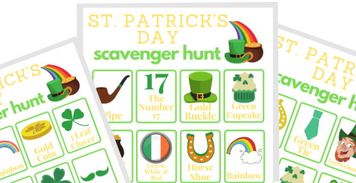 close up of 3 St. Patrick's Day scavenger hunt printables