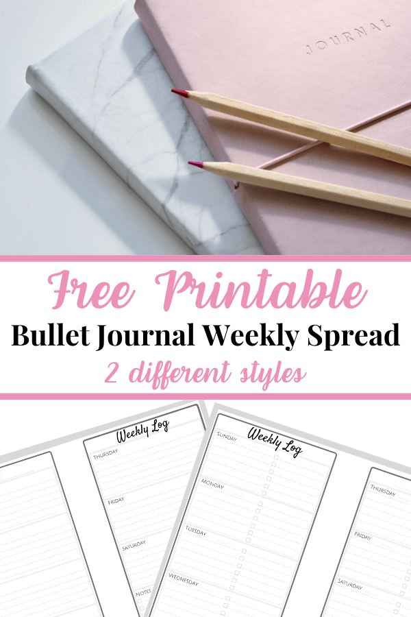 Top image pink journal stacked on white journal with pencils, bottom image of 2 different bullet journal weekly spreads, text overlay in middle with pink and black text reading Free Printable Bullet Journal Weekly Spread