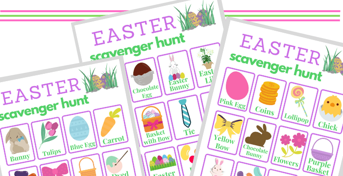 close-up of three game boards for an Easter Scavenger Hunt
