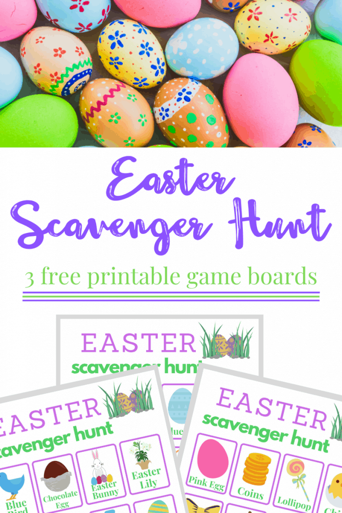 Top image - brightly colored and decorated eggs Bottom image - 3 Easter Scavenger Hunt game boards