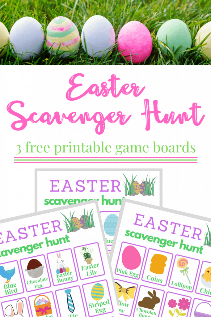 Top image line of dyed eggs in green grass Bottom image - 3 Easter scavenger hunt printable game boards
