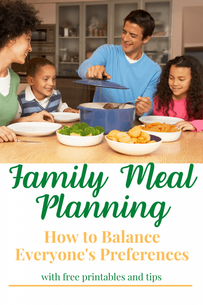 a family sitting around a table together about ready to eat a meal with title text reading Family Meal Planning How to Balance Everyone's Preferences with free printables and tips
