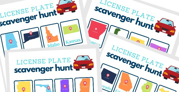 Close up of 4 license plate game boards.