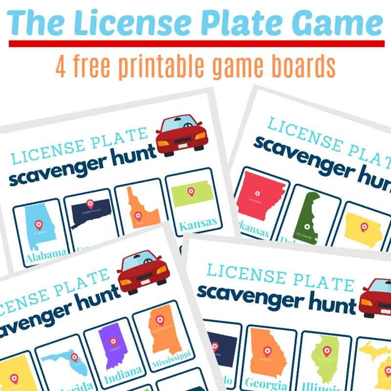 images of 4 license plate game scavenger hunt boards with text overlay
