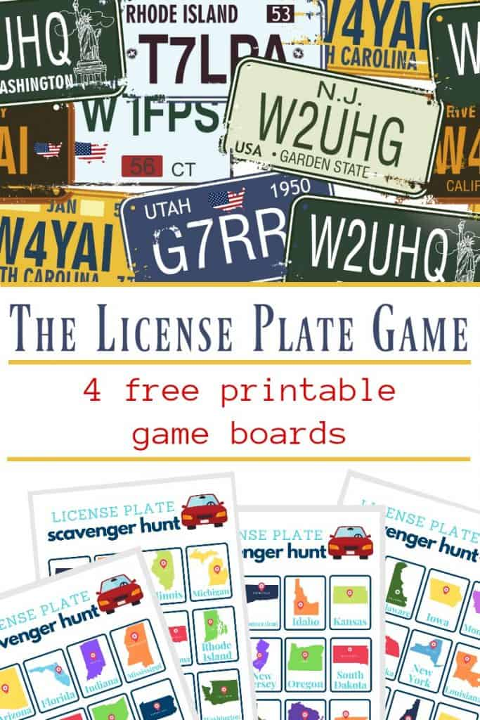 top image of random license plates, bottom image of 4 license plate game boards, with text overlay reading The License Plate Game 4 free printable game boards
