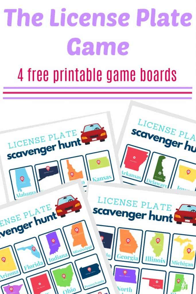 Four free license plate game scavenger hunt game boards with purple and pink text overlay reading The License Plate Game 4 free printable game boards