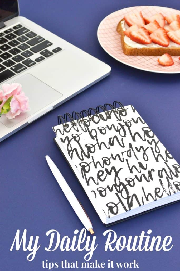 Black and white notebook, white pen and silver laptop on a deep blue background with white text overlay