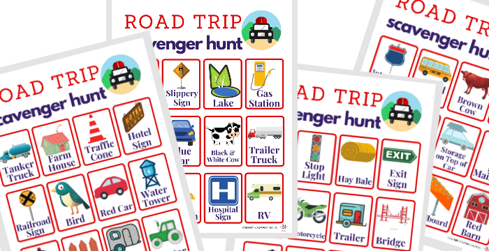 images of four colorful road trip scavenger hunt sheets