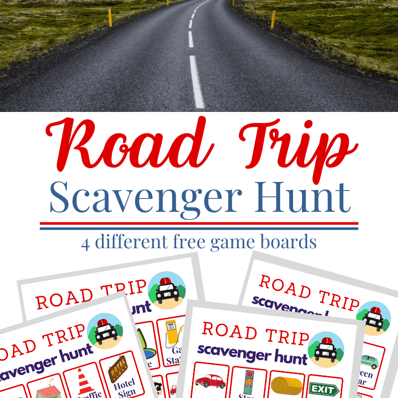 Top image of blacktop road winding ahead with bottom 4 images of road trip scavenger hunt game boards