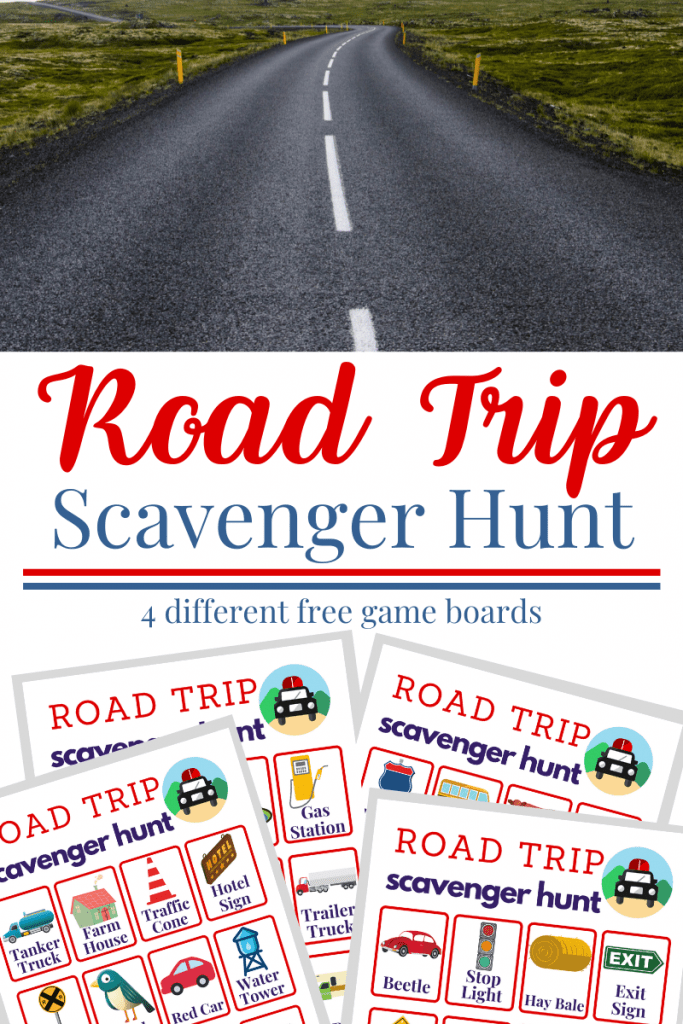 top image of black road with white stripe and bottom image of 4 scavenger hunt game boards with title text in between reading Road Trip Scavenger Hunt