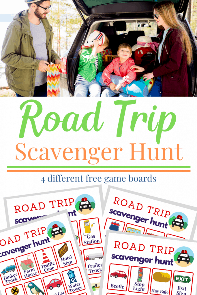 Top image family with young children sitting in back of car and bottom images of 4 game boards for road trip scavenger hunt and text overlay reading Road Trip Scavenger Hunt