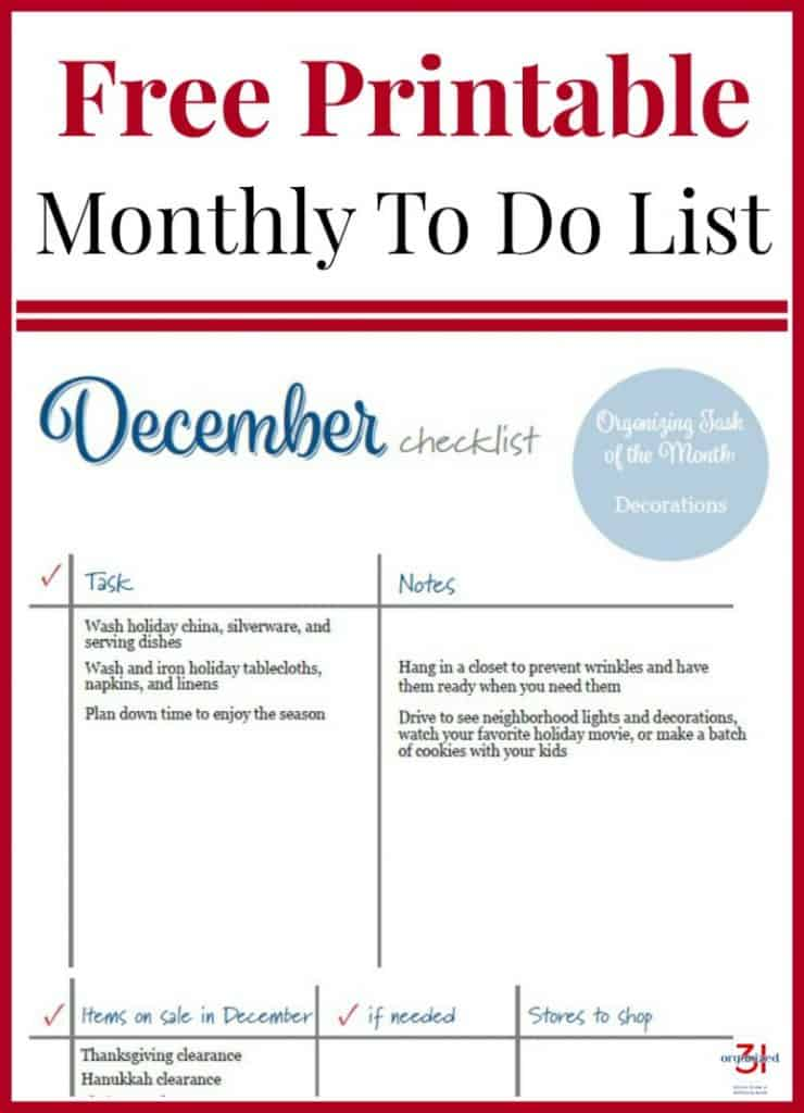 Image of December To Do List with red and blue text.