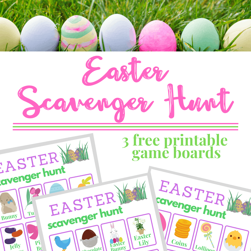top image - Easter eggs in a row, bottom image 3 Easter Scavenger Hunt Game boards