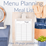 clipboard with meal list with kitchen utensils
