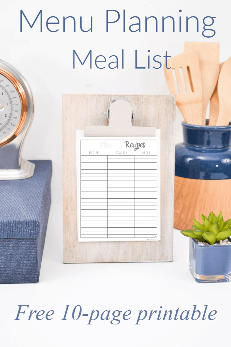 meal list on clipboard with blue and wood kitchen utensils