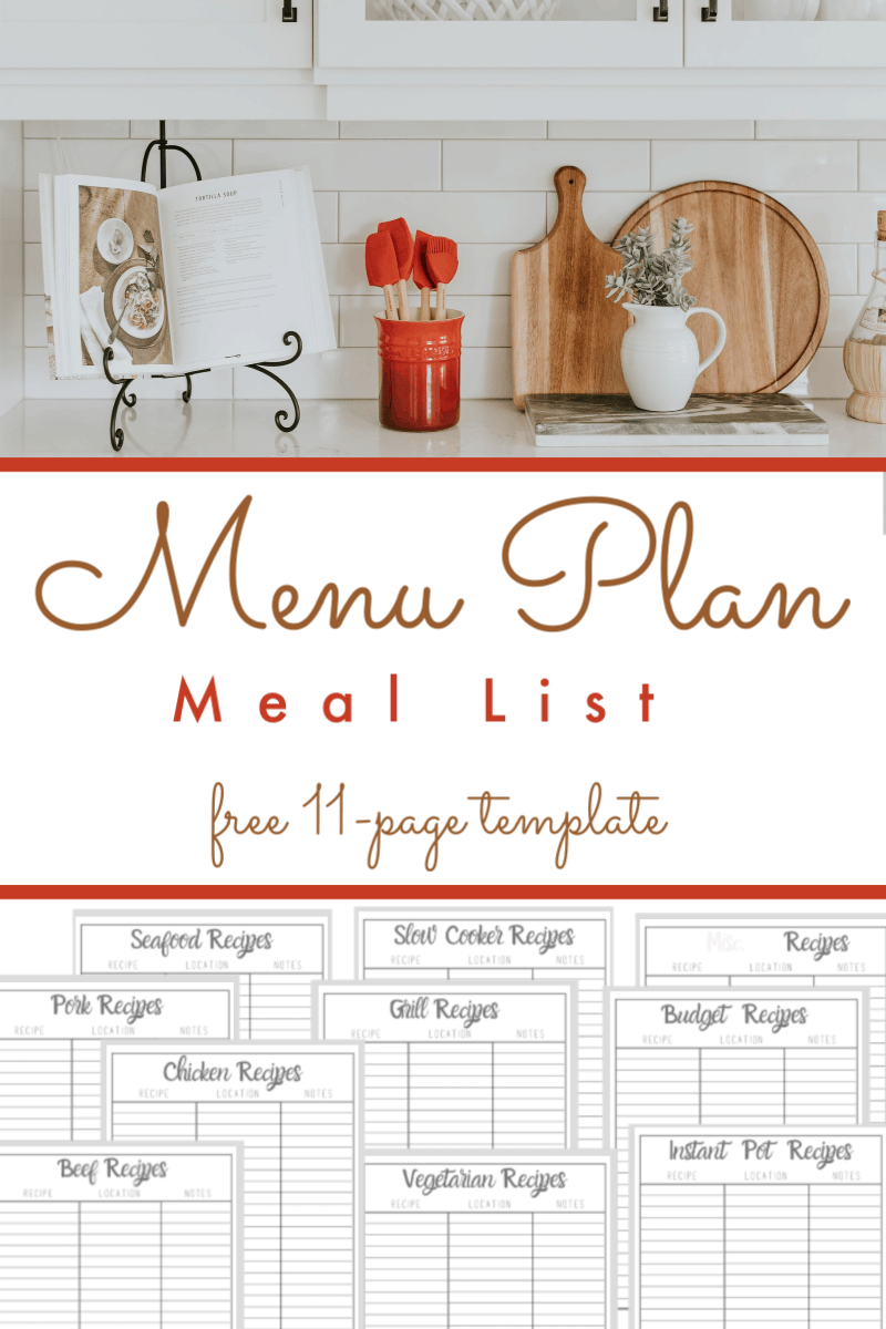 top image of cookbook on white kitchen counter, bottom image of meal list printables in white and dark grey