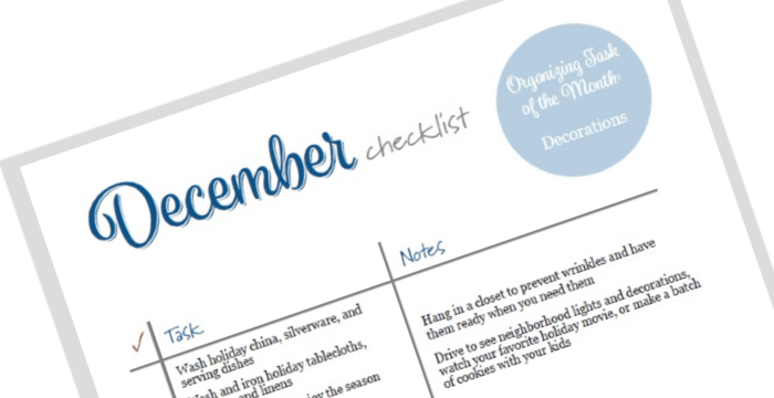 Close up of December To Do List tilted angle.