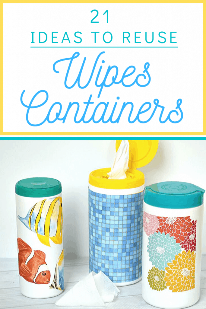 3 brightly decorated containers on white wood table