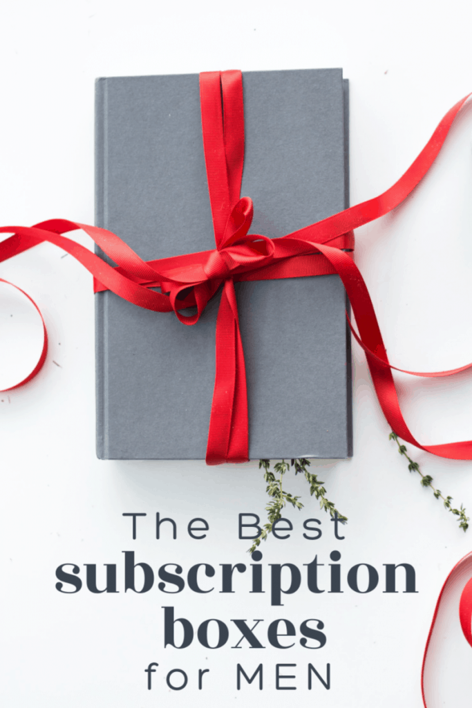 package wrapped in grey paper and a red bow with text overlay reading The Best Subscription Boxes for Men