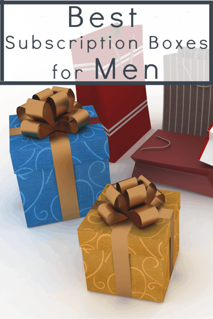 Gift boxes and gift bags in blue, gold and red with text overlay reading Best Subscription Boxes for Men