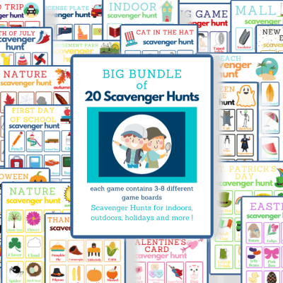 collage of brightly colored scavenger hunt game boards