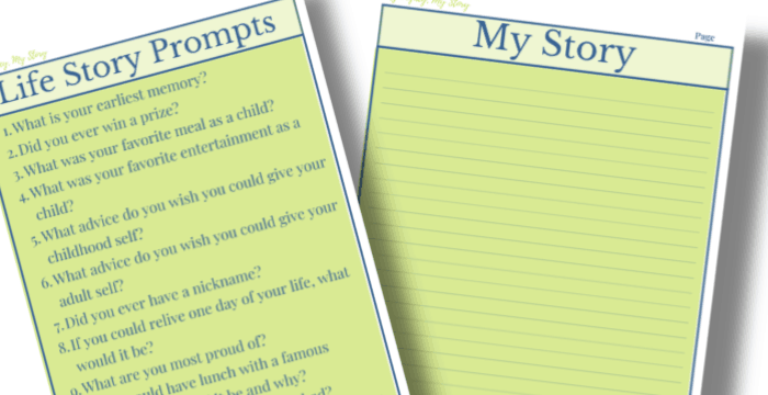close up of two green and navy pages for writing your life story