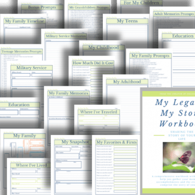 collage of navy and green pages of My Legacy workbook