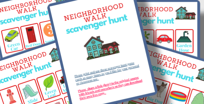 close up of colorful scavenger hunt boards for neighborhood walk