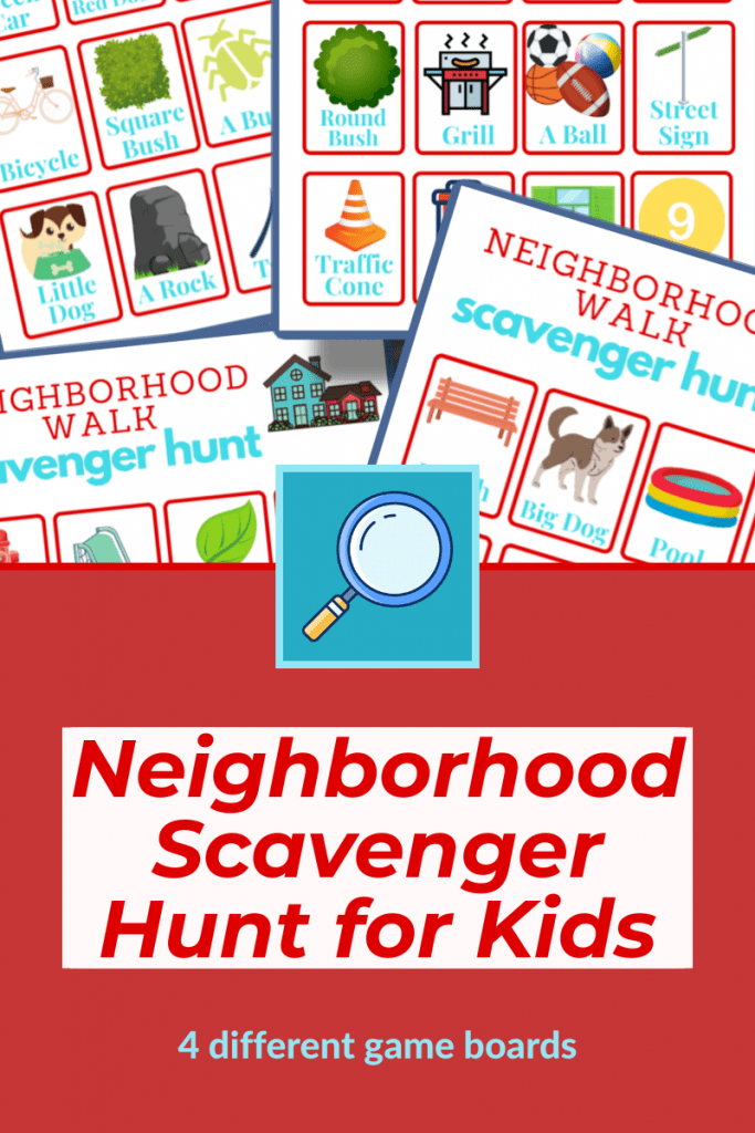 top - collage of colorful scavenger hunt game boards bottom - red box with text and magnifying glass