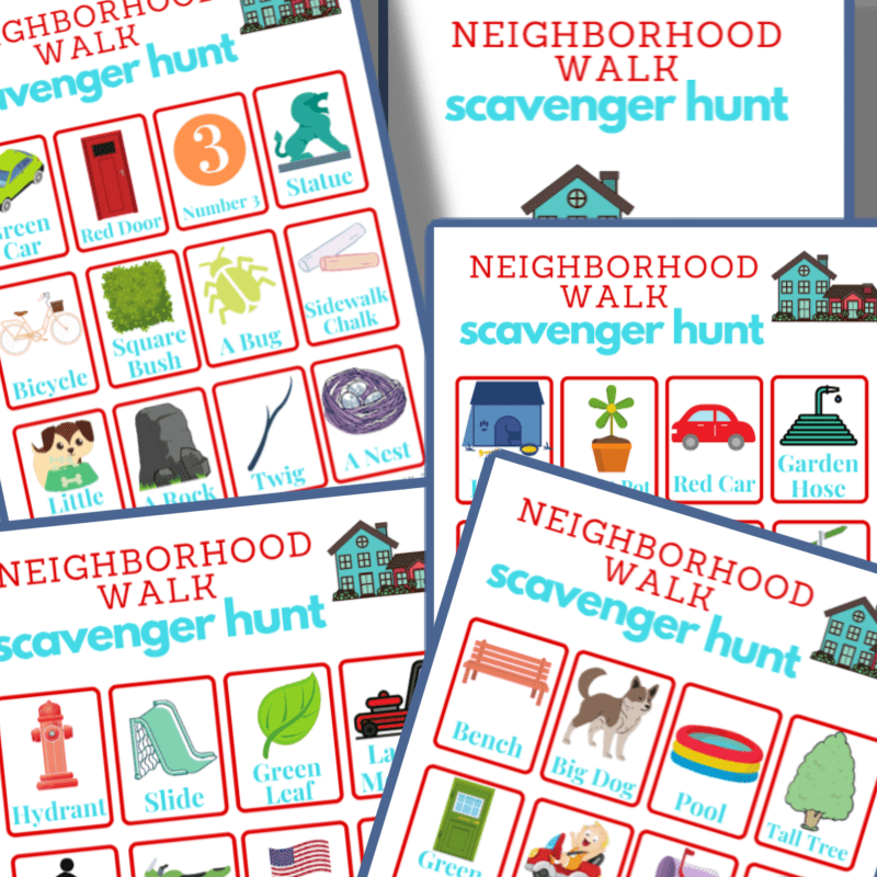 colorful scavenger hunt boards for a neighborhood game