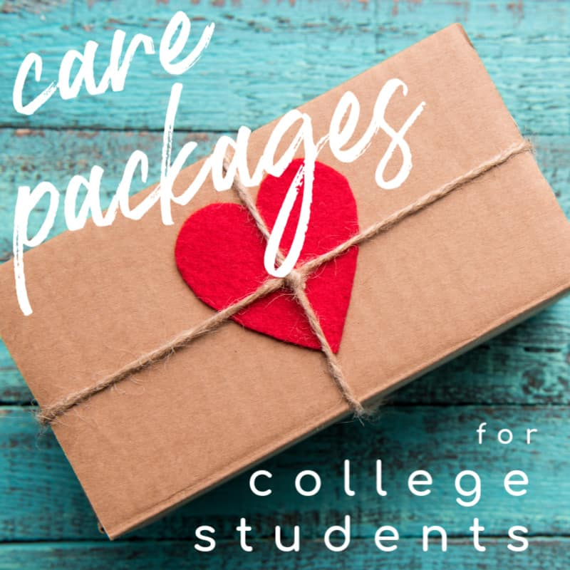 brown box with twine and red heart on blue table with text overlay reading care packages for colelge students