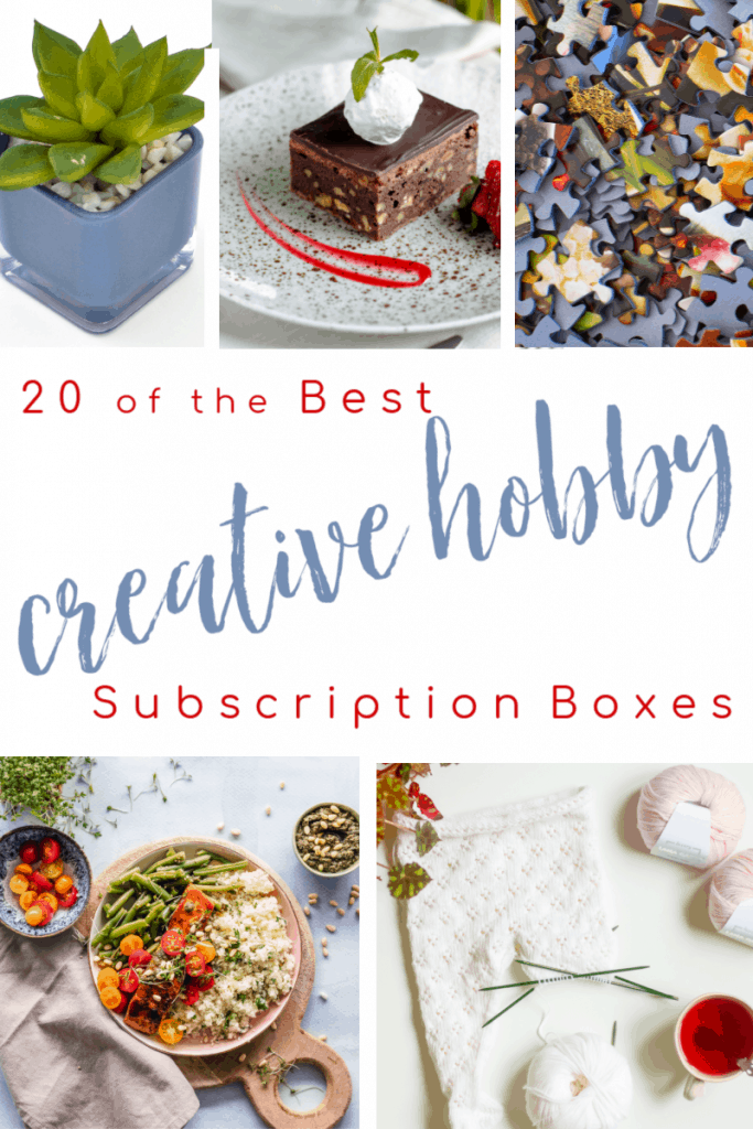Collage of 5 different craft ideas with text overlay reading 20 of the Best creative hobby Subscription Boxes
