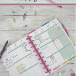 overhead view of rainbow colored Happy Planner