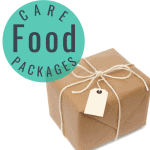 package wrapped in brown paper with twine bow & cream tag ,green circle with text