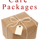 brown package with twine and red text overlay